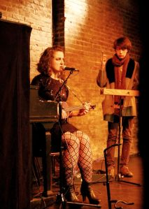 May van Oskan and Ashley Clayton perform at the DivaFest Gala in March 2013, The Exit Theatre